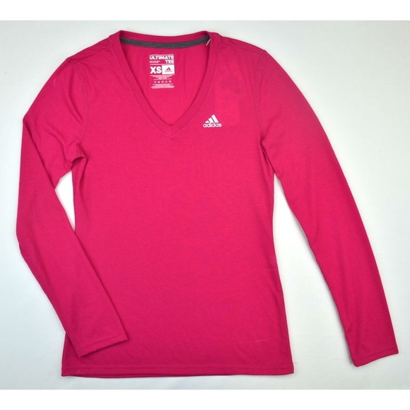 70ab2d402 Adidas Tops | Womens Pink Ultimate Long Sleeve Vneck Tshirt | Poshmark